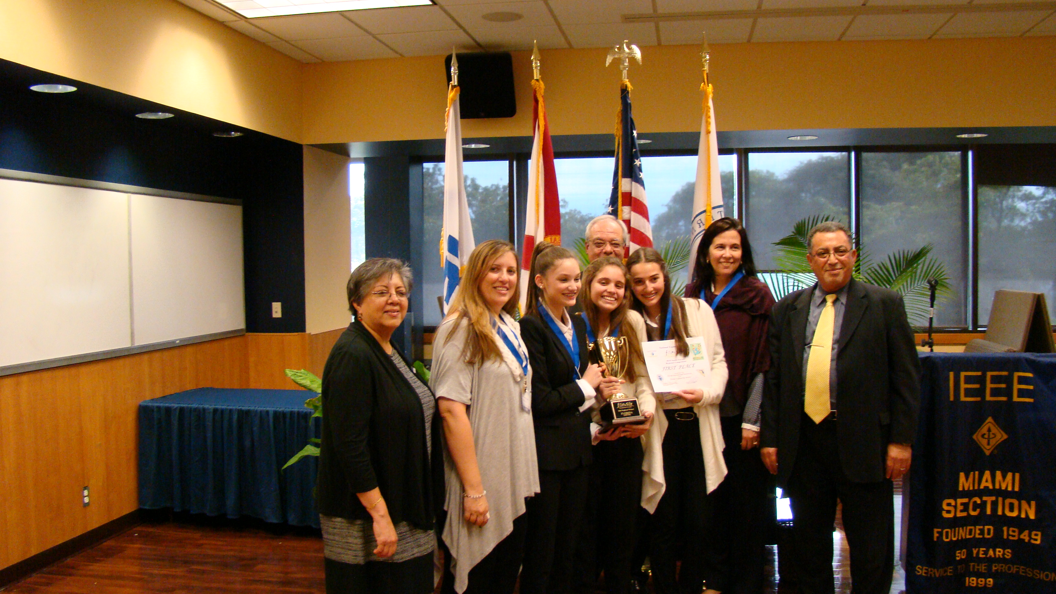 future city competition florida south champion team trophy first place award along fiu engineering and computing dean